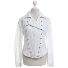 Pre-owned Linen jacket in white ($180) ❤ liked on Polyvore featuring outerwear, jackets, white, ralph lauren jacket, ralph lauren, white jacket, collar jacket and white linen jackets