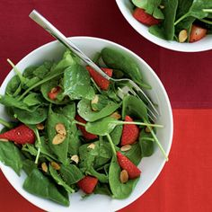 Vegetable and Green Salad Recipes | Spinach-Strawberry Salad  | CookingLight.com