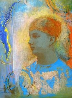 Odilon Redon (French: 1840–1916), [Post-impressionism, Symbolism] Young Girl Facing Left.