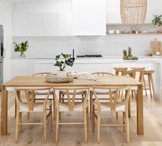 Modern Coastal, Coastal Style, Coastal Decor, Dining Area, Kitchen Dining, House And Home Magazine, Open Plan Living, Apartment Living, Living Room