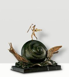 Salvador Dali sculpture escultura The Angel and the Snail available through Robin Rile Fine Art