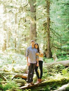 woodsy engagement photos in the mountains featuring all four seasons. @RyanFlynnPhoto http://www.ryanflynnphotography.net http://greenweddingshoes.com/adventurous-engagement-shoot-in-the-mountains-kate-adam/pacific