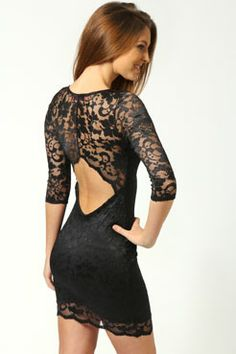 Scallop Detail Open Back #Lace Bodycon Dress Get 7% Cash Back http://www.studentrate.com/all/get-all-student-deals/Boohoo-com-Student-Discounts--/0