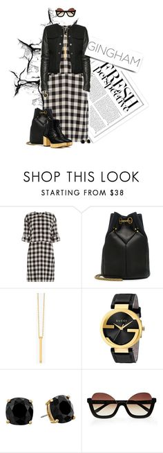 """""""Check Republic: Gingham Dress"""" by dawn-scott ❤ liked on Polyvore featuring Kershaw, Warehouse, Alexander Wang, Jérôme Dreyfuss, Gorjana, Gucci and Kate Spade"""