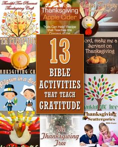"Are you looking for Bible activities to teach gratitude this Thanksgiving? Then check out our list of ""13 Thanksgiving Bible Activities that Teach Gratitude""! From bible study and object lessons, to crafts, games and science experiments, there is sure to be an activity for every kids interests and imagination."