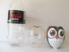 Cute owl recycle project using a 2 Liter bottle
