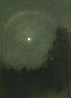 Henry Prellwitz Moonlight Ring ca. I saw a moonlight ring a couple weeks ago- it was magic Art Painting, Landscape Paintings, Moon Art, Art Photography, Art For Art Sake, Painting, Moonlight, Moonlight Painting, Art