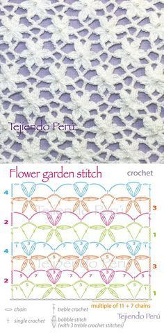 Crochet Garden Flower Stitch Doily Flower stitch crochet may have bunches of uses, but the most important thing is that they beautify all the crochet. Gilet Crochet, Stitch Crochet, Crochet Motifs, Crochet Flower Patterns, Crochet Diagram, Crochet Stitches Patterns, Crochet Chart, Crochet Flowers, Stitch Patterns
