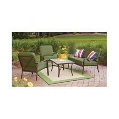 4 Piece Patio Conversation Set 2 Chairs Loveseat Table Outdoor Garden Furniture