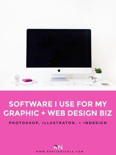 software I use for My Graphic & WeB Design Biz: Photoshop, Illustrator, InDesign