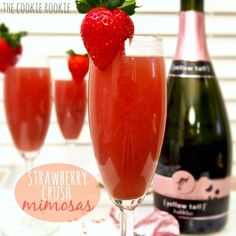 Every brunch should include fresh Strawberry Mimosas!! These are easy and delicious the hit of any bridal shower, brunch, girls day, or anytime!