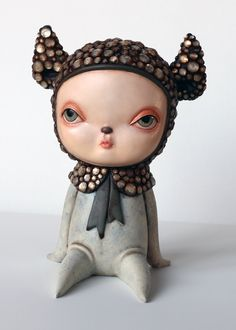"Kathie Olivas Encrusted Bebe Oil and mixed media 9"" tall Rotofugi Gallery - Traveling Circus - A Circus Posterus Group Exhibit"