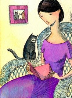by Nicole Wong via Pinzellades al món: Dones, gats i llibres / Mujeres, gatos y libros / Women, cats and books