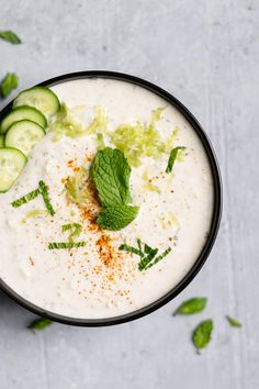 Raita is a cooling yogurt-based Indian sauce with cucumber and mint. This vegan version is quick and easy to make and tastes just like the original! Indian Yogurt Sauce, Mint Yogurt Sauce, Vegan Indian Recipes, Vegan Recipes, Vegan Indian Food, Indian Foods, Vegan Food, Ayurveda, Indian Sauces