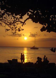 Beautiful sunset at Negril, Jamaica.