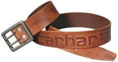 Lækkert læderbælte fra Carhartt m. Logo, brun (2217-BRN) - Diverse - BILLIG-ARBEJDSTOJ.DK