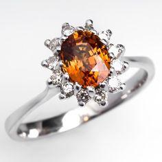 Orange Sapphire Engagement Ring