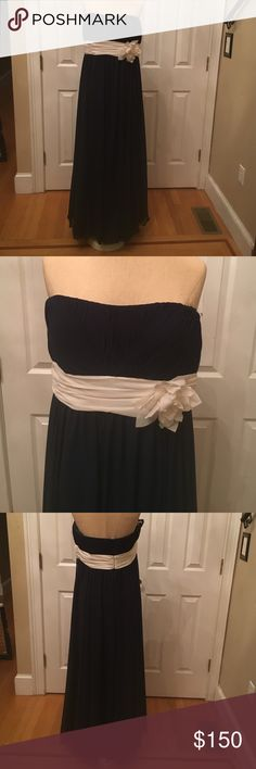 Navy Gown with Cashmere-Colored Flower Sash 💎TWO OF THE SAME FOR BRIDESMAIDS OR JUNIOR BRIDESMAIDS💎 Navy gown with cashmere-colored flower sash. Empire waist. Comes with matching shawl. MATCHES OTHER BRIDESMAID GOWNS IN MY CLOSET! Bari Jay Dresses Prom