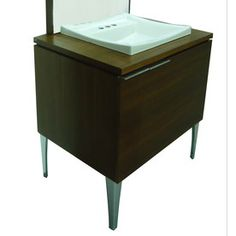 Leander Walnut Drop-In Single Sink Bathroom Vanity with Wood Top from Lowes (this picture doesn't do the unit justice - I really liked the display in store)