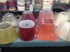 Colorful lampshades at Broome Lampshades in New York, NY, red pleated lampshade, green pleated lampshade, pink lampshade, orange lampshade, box pleat lamp shade, #lampshades, lamp shades, color