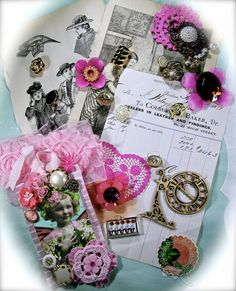 Pink Mini Collection Embellishment Scrapbook Altered by ZeusandZoe, $24.99