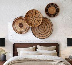 Baskets On Wall, Woven Baskets, Picnic Baskets, Boho Living Room, Living Rooms, Boho Room, Basket Decoration, Wall Art Sets, Decorative Pillows
