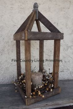 Large Tobacco Lathe Lantern. www.FineCountryLivingPrimitives.com
