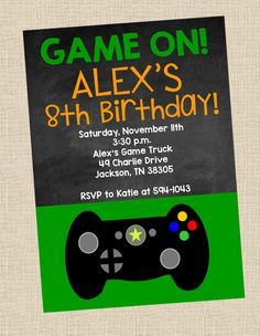 Personalized Video Game Birthday Party PRINTABLE Invitation- Game Truck, Video Game, Gamer, Game On on Etsy, $10.00
