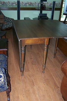 $350 Walnut Gate Leg Drop Leaf Dining Table with Wide Leaves