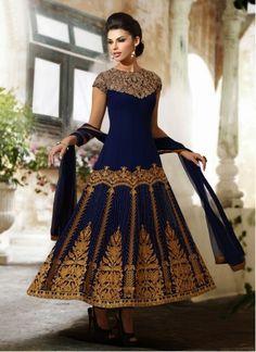 Sherlyn Chopra Navy Blue Patch Border Work Georgette Designer Anarkali Suit
