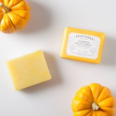 Pumpkins are delicious and are great for the skin!  Full of beneficial enzymes, vitamins, and nutrients, pumpkin pulp and pumpkin seed oil will deeply nourish and revitalize your skin //  Pumpkin + Wild Carrot Complexion Soap