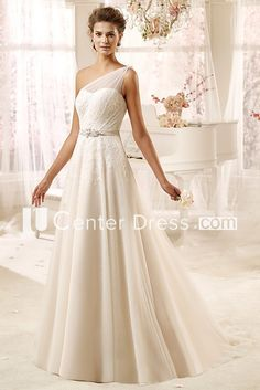 Sweetheart One-Shoulder Draping Wedding Dress With Tulle Strap And Satin Sash One Shoulder Gown, One Shoulder Wedding Dress, Prom Accessories, Headpiece Jewelry, Plus Size Prom, Bridesmaid Dresses, Prom Dresses, Satin Sash, Wedding Dress Shopping