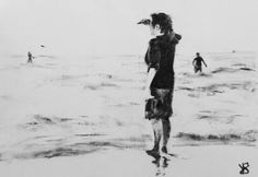 "Saatchi Art Artist Victoria General; Beach Charcoal Drawing, ""I don't understand how people can't be afraid of the water."" #art"
