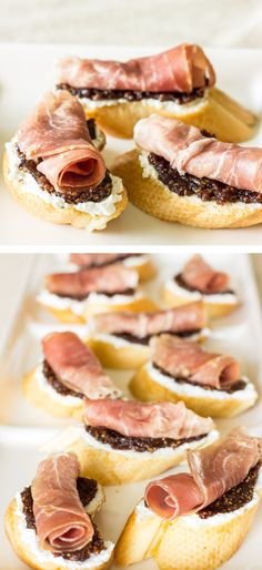 Crostini with Proscuitto, Homemade Fig Jam, & Goat Cheese - Easy Appetizer