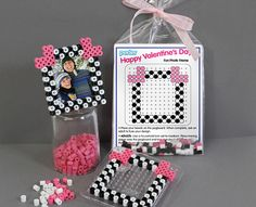 With these quick and easy Valentine Frame Favors, kids can share the fun of Perler when they give a favor as a gift in a classroom exchange. Combine our downloadable pattern, beads, a small pegboard, and ironing paper into a treat bag, and you have a creative gift!