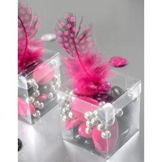 Boite dragées cube transparent 4 cm à garnir de dragées ou confiserie.