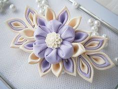 Handmade Kanzashi fabric flower grosgrain ribbon french barrette - ladies women hair accessories in UK,shipping worldwide on Etsy, $14.16
