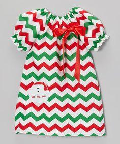 Red & Green Santa Zigzag Peasant Dress - Toddler & Girls by Royal Gem on #zulily