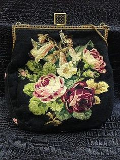 Vtg Petit Point Rose Handbag Needlepoint Tapestry Floral Bag Purse H | eBay