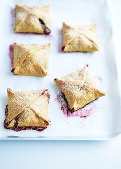 mixed berry and coconut foldover tarts