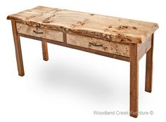 Rustic Console Table with Live Edge Burl Slab