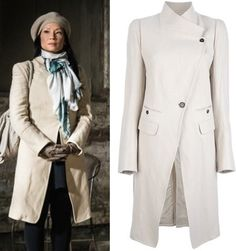 "Elementary Season 2 on CBS: Find out what Joan Watson (Lucy Liu) and Moriarty (Natalie Dormer) wore in episode ""The Diabolical Kind"" Lucy Liu Elementary, Sightseeing Outfit, Asymmetrical Coat, Vest Coat, Couture, Petite Fashion, Women's Fashion Dresses, Coats For Women, Passion For Fashion"