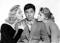 Jerry Lewis, sandwiched between Marilyn Maxwell and Connie Stevens and their vintage waves. 'Rock-A-Bye Baby', 1958.