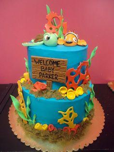Finding Nemo themed baby shower cake!  www.bakedinmoore.com