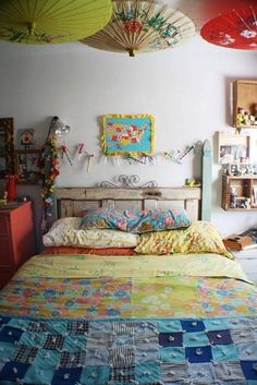 Bedroom , Adorable Boho Chic Bedroom : Boho Chic Bedroom With Bamboo Umbrellas Over The Bed With Colorfull Beddring And Wall Decor