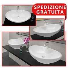 Lavabo in ceramica - Rosa - da appoggio due misure