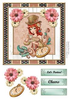 Partea Card Front on Craftsuprint designed by Sharon Vieira - Partea Card Front is approx 7x7 in. comes with decoupage and 3 labels reading let's Partea, Cheers and one blank for the sentiment of your choosing. - Now available for download!