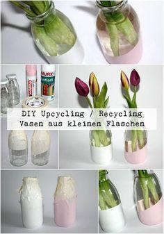 DIY Upcycling / Recycling Vasen aus kleinen Milchflaschen + Anleitung:  DIY, Basteln, Selbermachen, Frühling, Vase, Tulpen, Deko, Dekoration, Gartendeko, Gartendekoration, Geschenk, Geschenkidee, weiß, rosa...