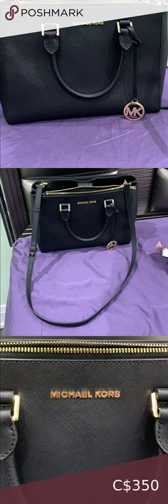 Authentic Micheal Kors handbag and wallet set Authentic Micheal kors handbag and wallet set, black and gold, in awesome condition (9/10) Barely used with original purchase care card. It is magnetic closed for the handbag and zipper closed for the wallet. Hand bag can carry lots of day to day things and has many zipper pockets and open pockets to carry big things and small things. It has a thin handle for both hand and shoulder holding which feels gentle on both the hand and shoulder due to… Micheal Kors Handbag, Small Things, Things To Sell, Michael Kors Black, Feels, Handle, Zipper, Pockets, Handbags