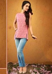 Casual Wear  Crepe Pink Embroidered Work Top